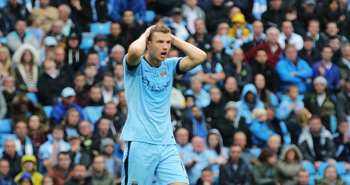 Edin Dzeko is disappointed as another chance goes begging