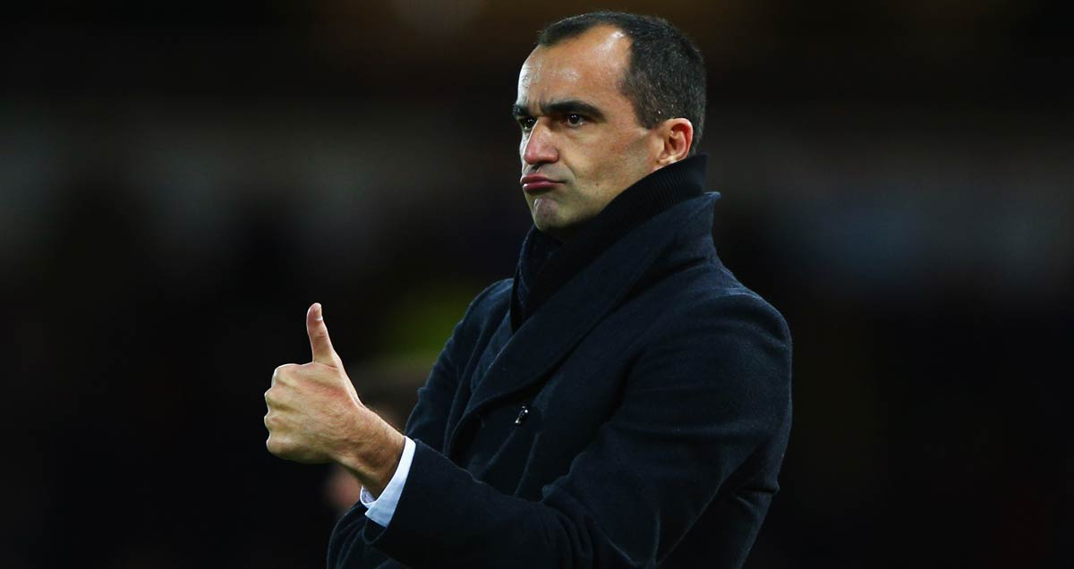 Everton manager Roberto Martinez signals his approval