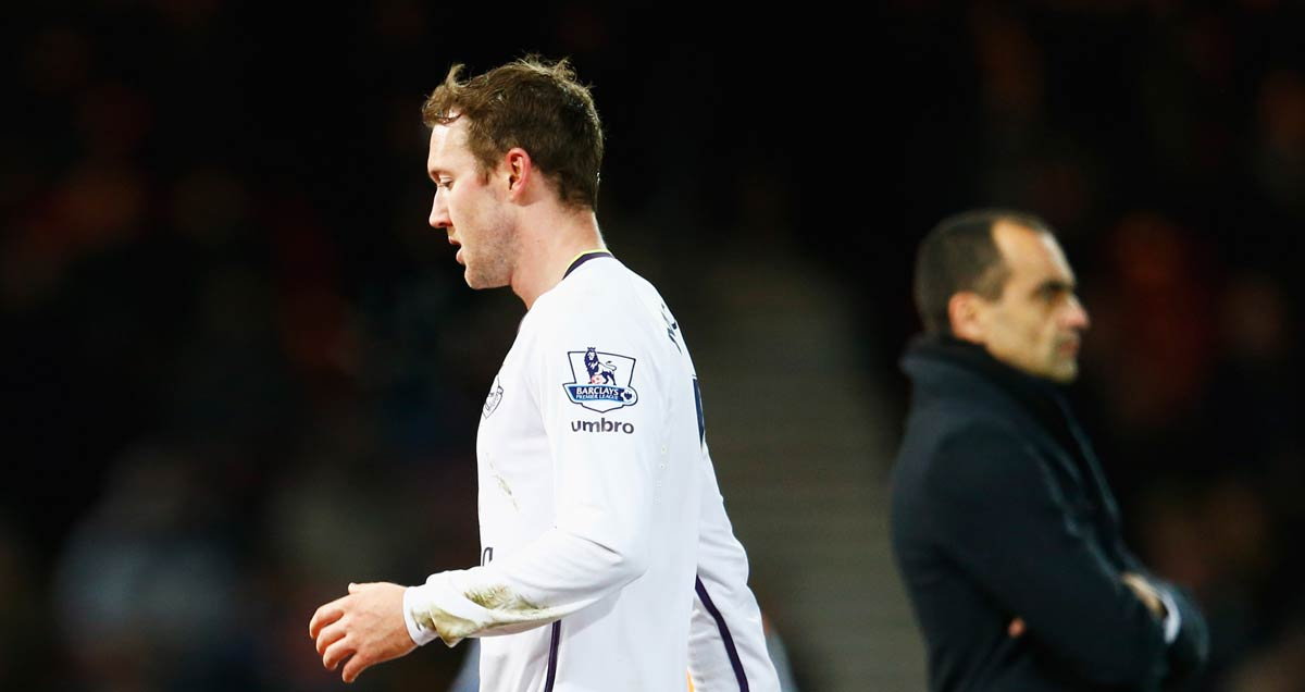 Everton's Aiden McGeady contemplates his sending off against West Ham