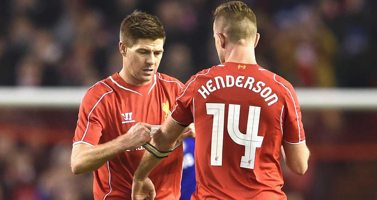Steven Gerrard passes the Liverpool captaincy baton onto Jordan Henderson