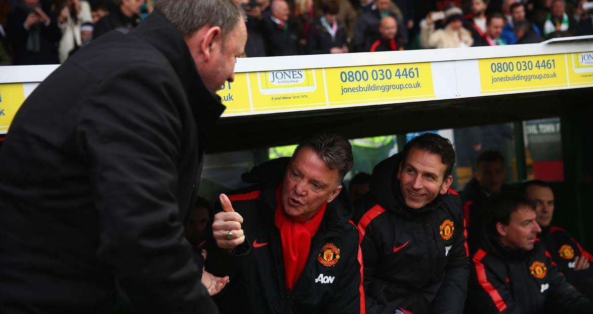 Man Utd Louis van Gaal banters with Yeovil's Gary Johnson