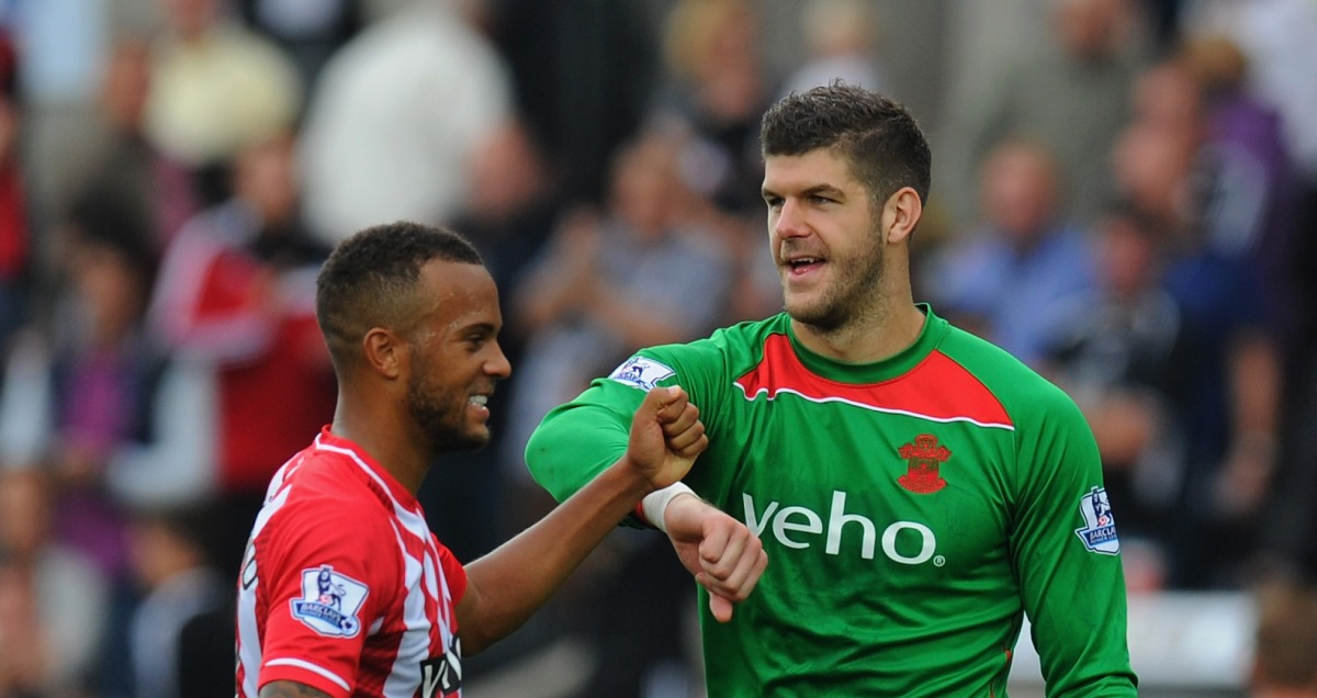 Southampton stars Ryan Bertrand and Fraser Forster share a fist bump