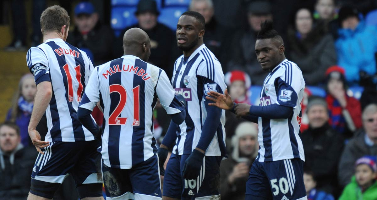West Brom players congratulate Thievy Bifouma for scoring against Crystal Palace