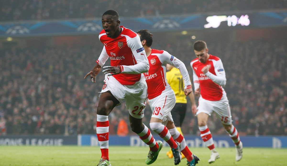 Yaya Sanogo celebrates his first and only Arsenal goal