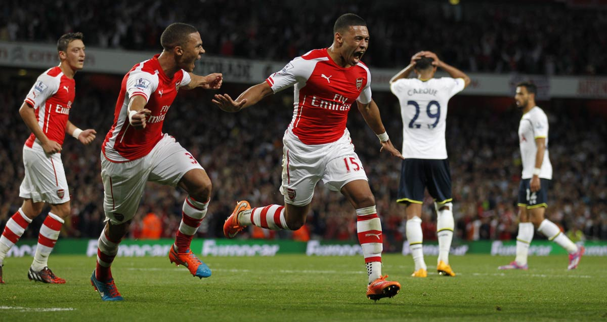 Alex Oxlade-Chamberlain equalises against Tottenham at the Emirates