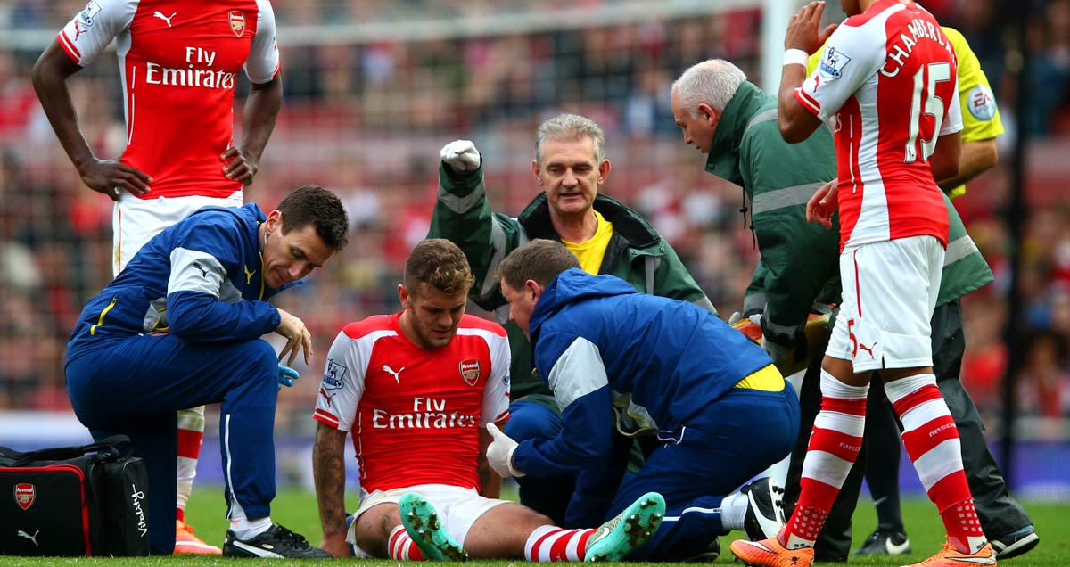 Arsenal's Jack Wilshere contemplates an injury