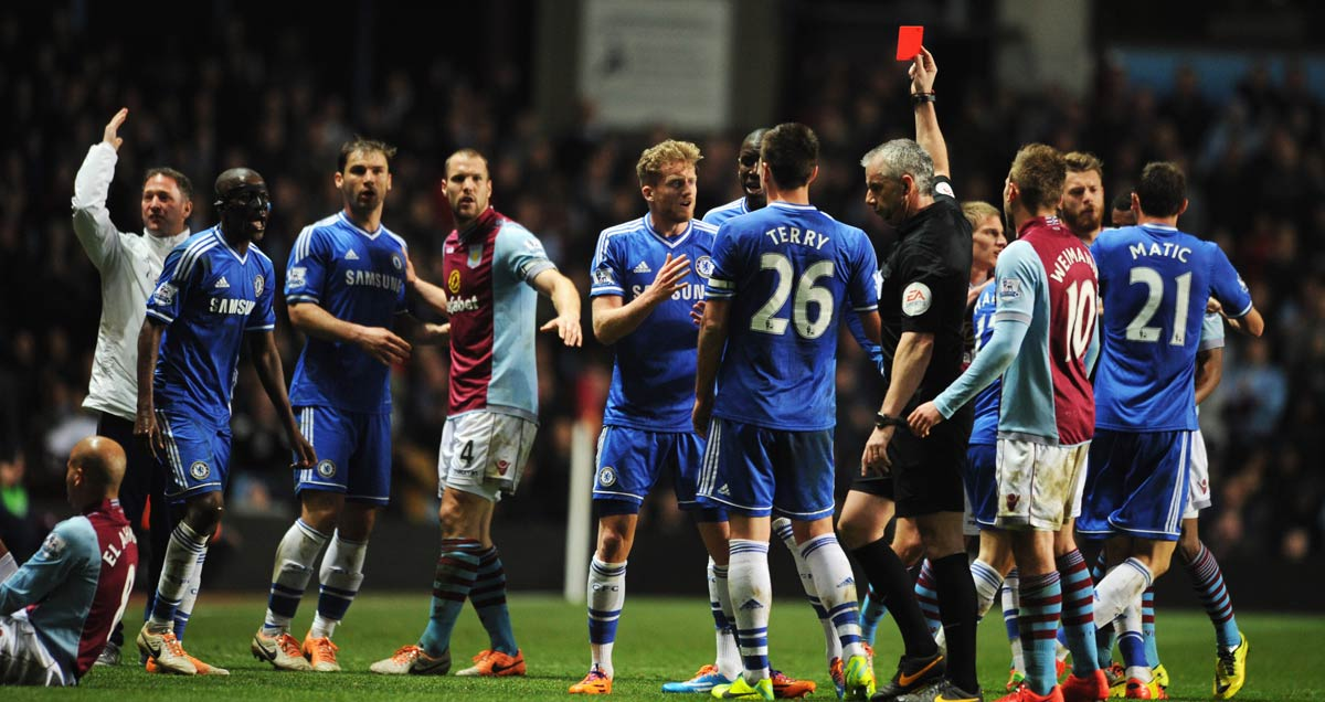 Chelsea's Ramires is sent off at Villa Park in 2014
