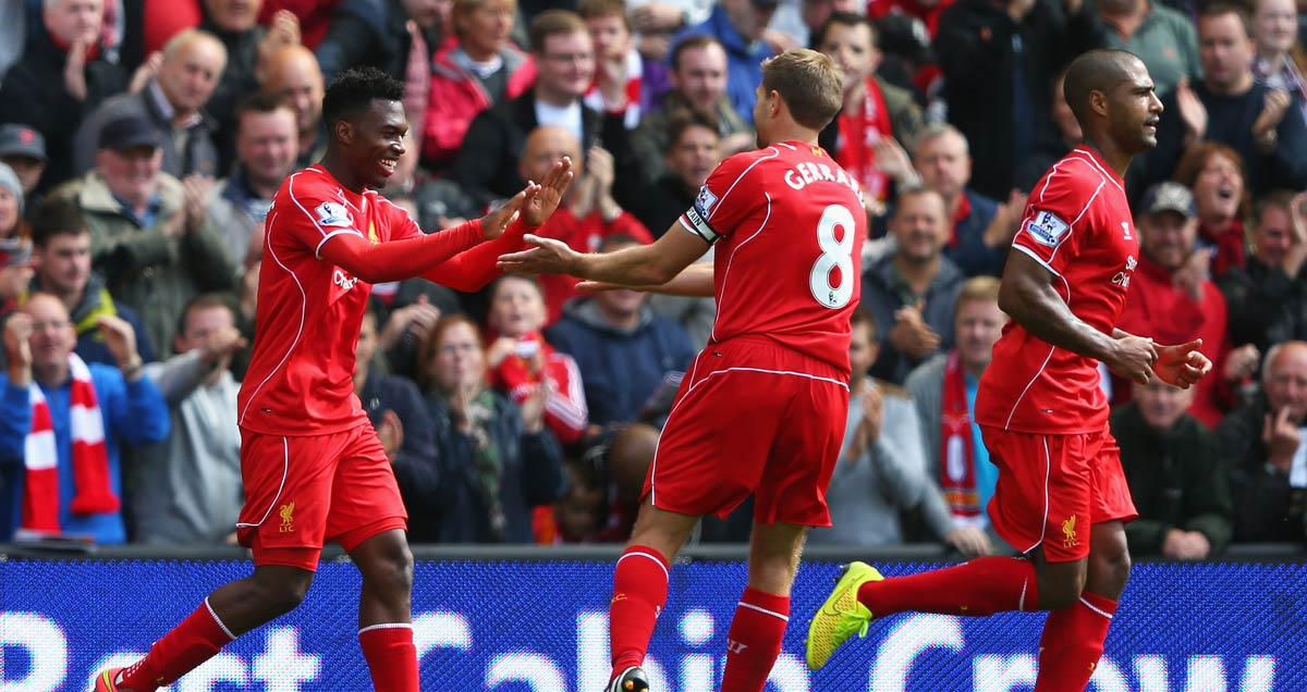 Daniel Sturridge and Steven Gerrard celebrate the former's goal for Liverpool against Southampton