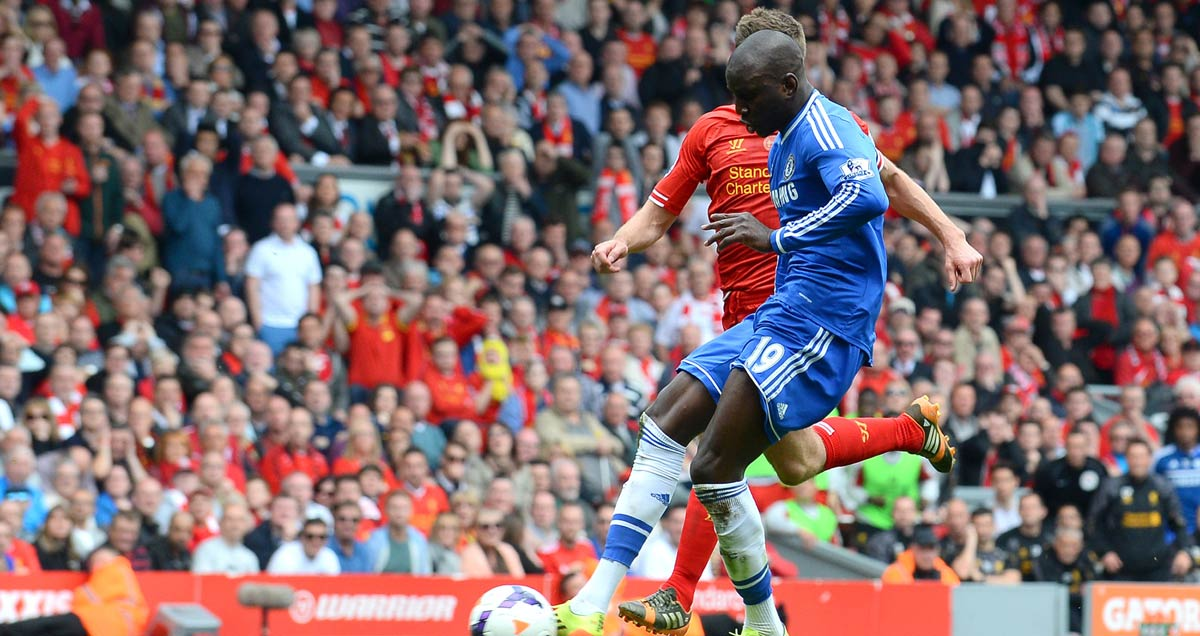 Demba Ba slots home the goal that etched his name into Premier League folklore at Anfield in April 2014