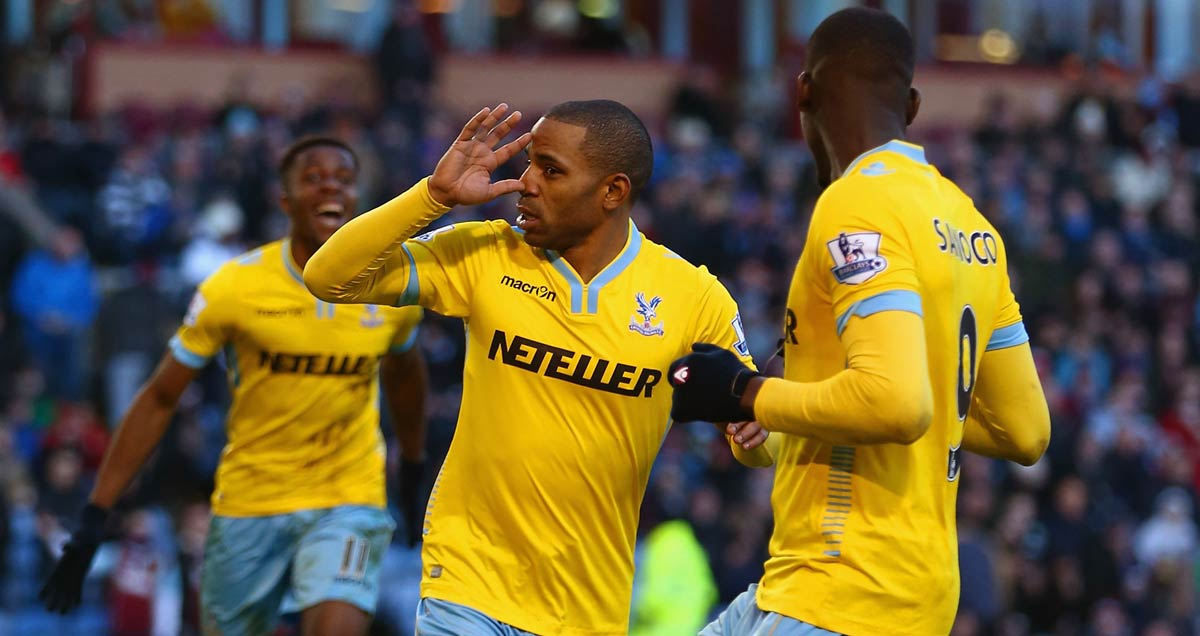 Jason Puncheon celebrates scoring for Crystal Palace in Burnley
