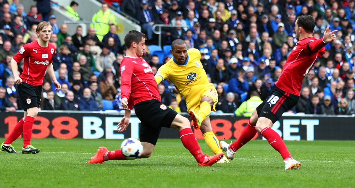 Jason Puncheon opens the scoring on the way to a brace at Cardiff in 2013-14