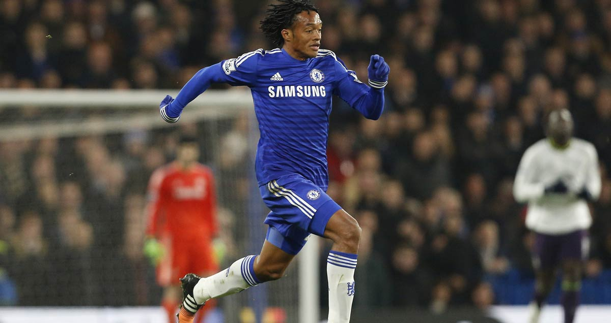 Juan Cuadrado burst forward with the ball on his Chelsea debut