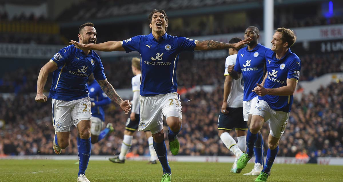 Leonardo Ulloa celebrates his Leicester equaliser against Tottenham in round four