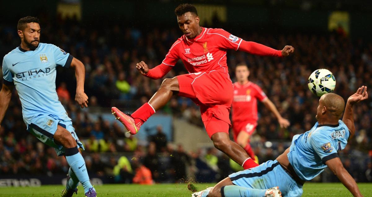 Man City v Liverpool Gael Clichy and Vincent Kompany close down Daniel Sturridge
