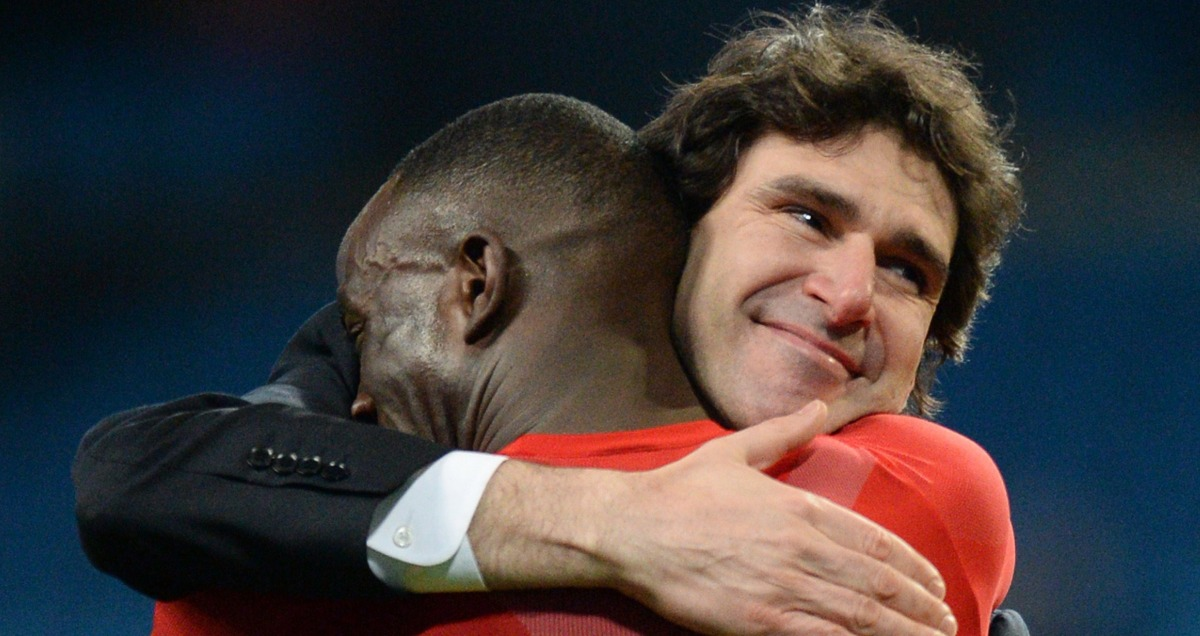 Middlesbrough manager Aitor Karanka embraces Albert Adomah after theri FA Cup win over Manchester City