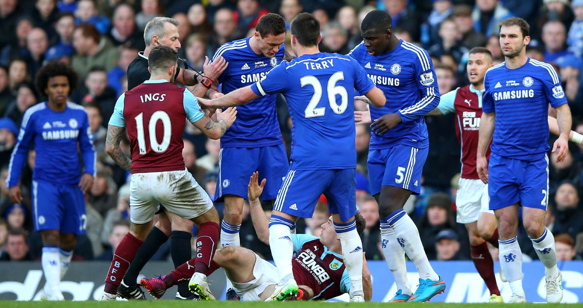 Nemanja Matic reacts to Ashley Barnes' foul challenge against Burnley
