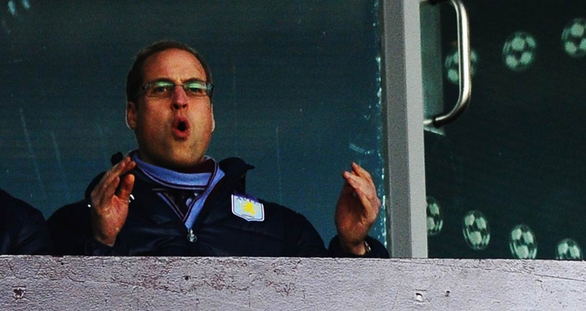 Prince William indulging in the agonies that go with supporting Aston Villa