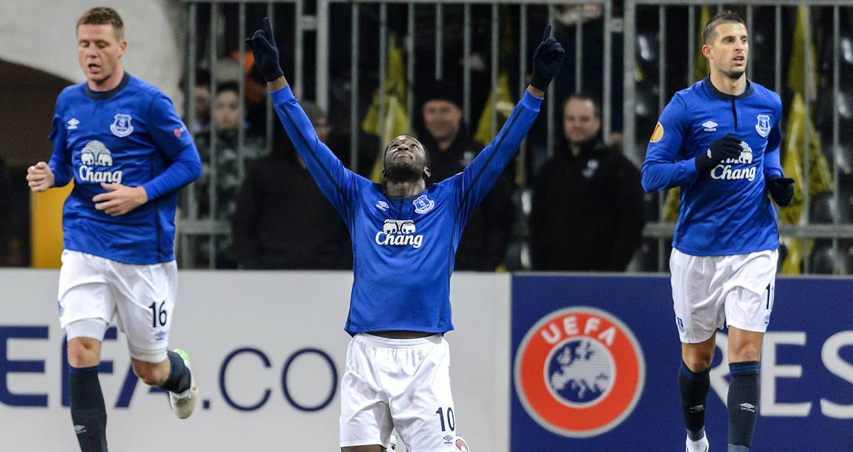 Romelu Lukaku hails the first Everton goal against Young Boys at Wankdorff