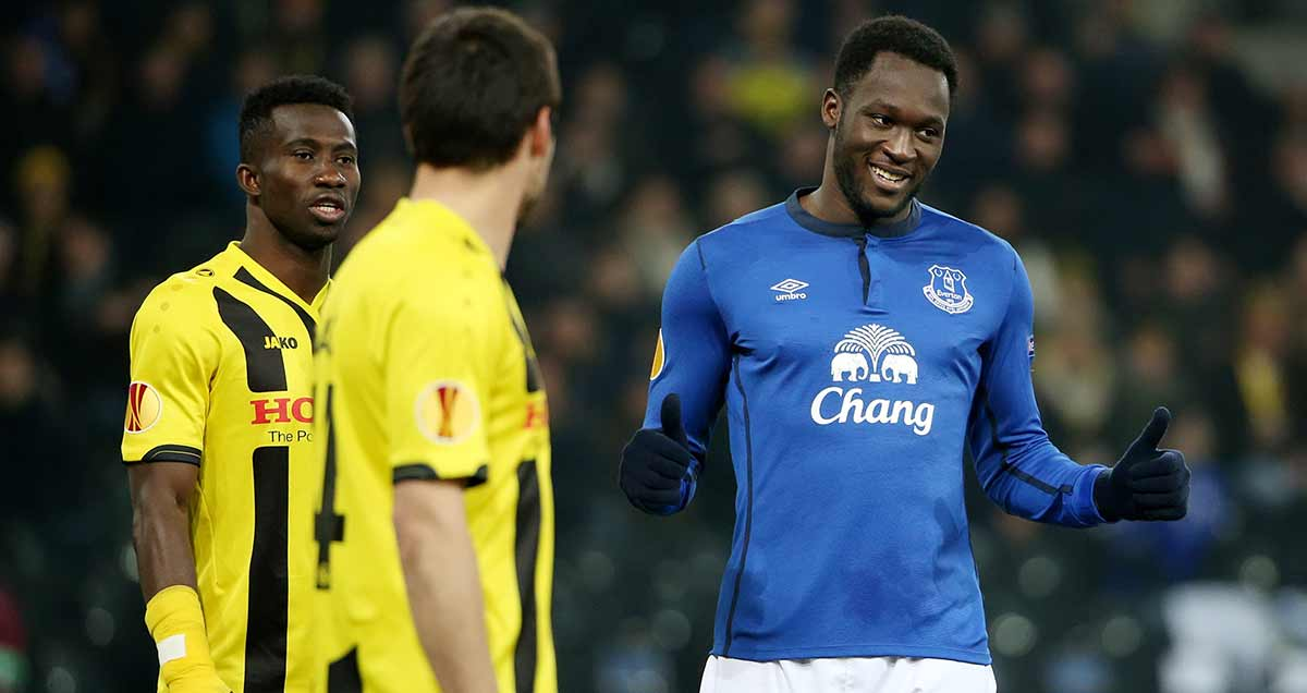 Romelu Lukaku sneers at the Young Boys tasked to mark him