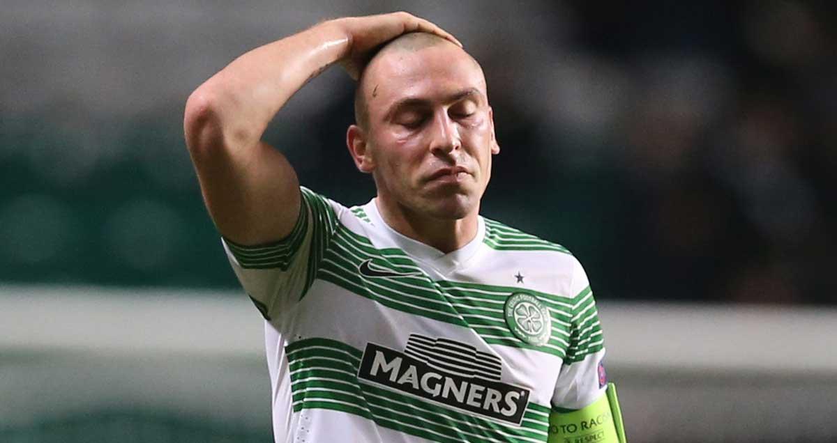 Celtic captain Scott Brown in despair