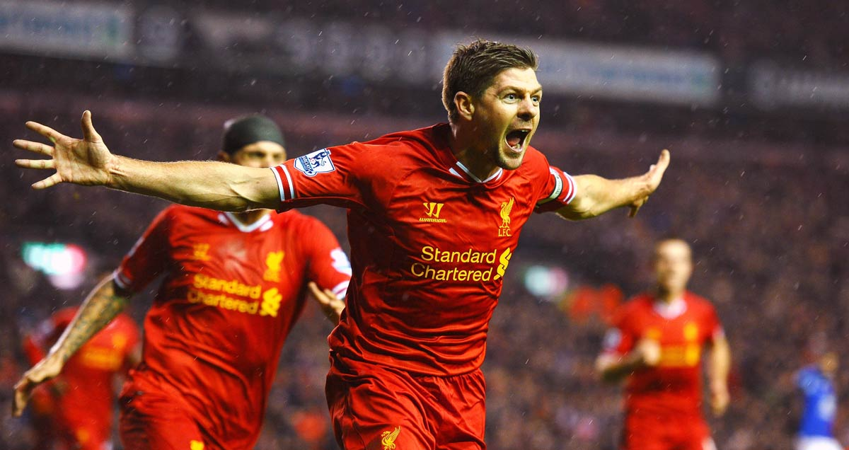 Steven Gerrard of Liverpool celebrates after scoring the opening goal