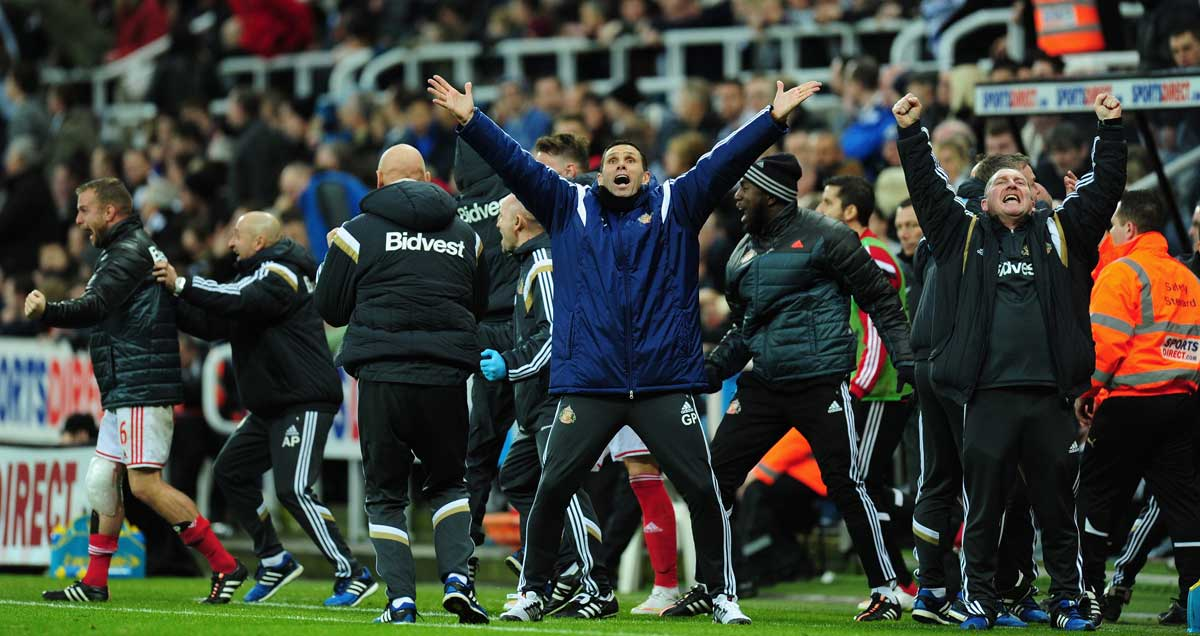 Gus Poyet celebrates Sunderland's win at Newcastle, completely oblivious to the fate that awaited him