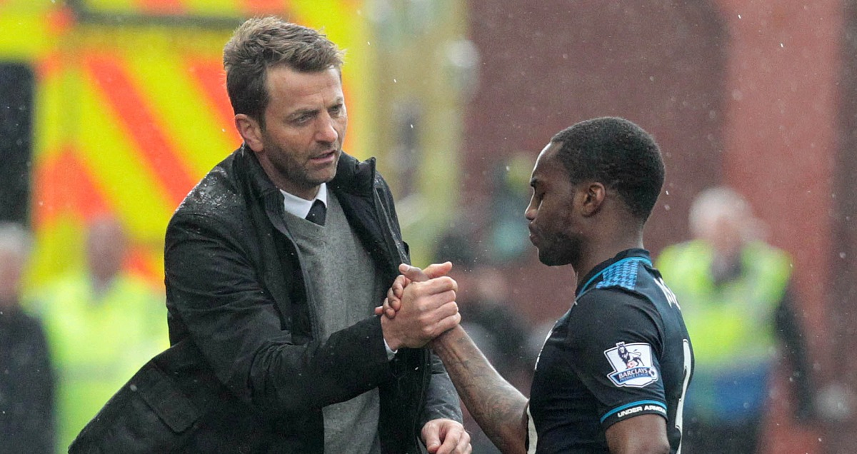 Tim Sherwood shakes hands with Danny Rose of Tottenham