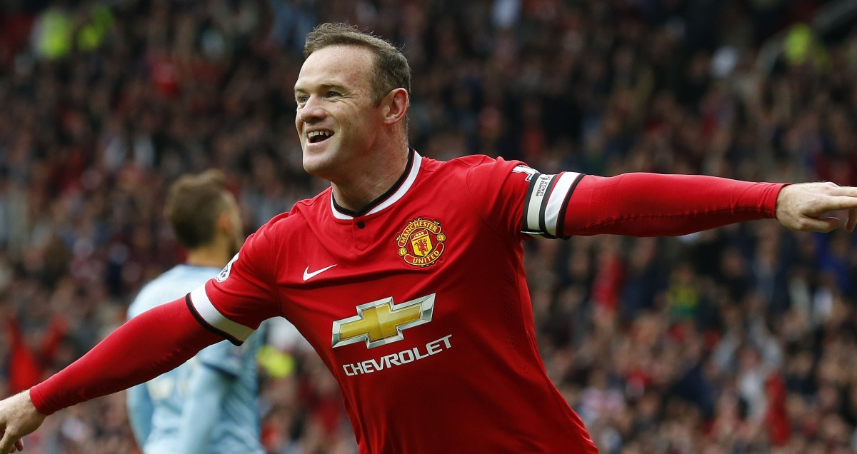 Wayne Rooney celebrates scoring against West Ham at Old Trafford