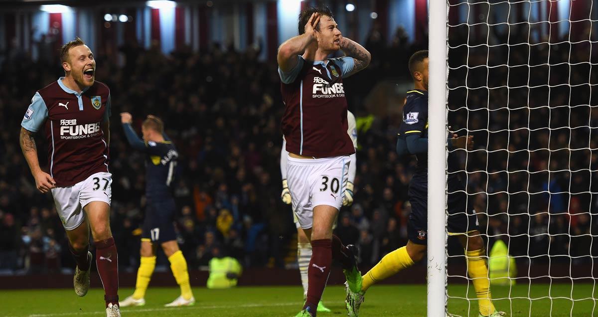 Ashley Barnes celebrates scoring against Southampton at Turf Moor