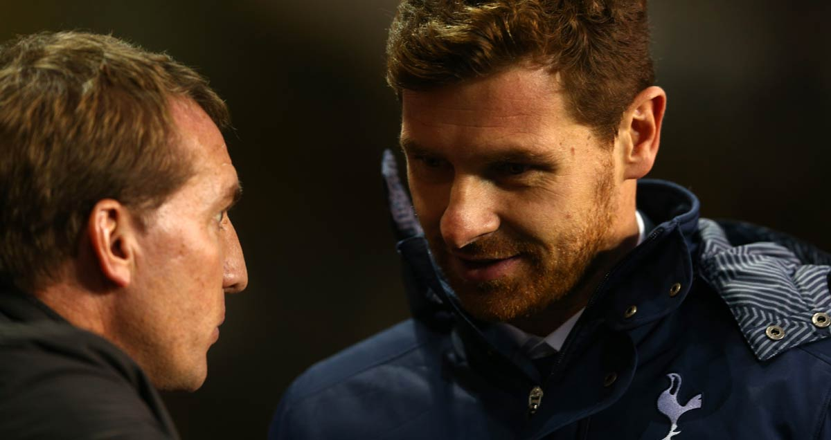 Brendan Rodgers converses with then Tottenham manager Andre Villas-Boas