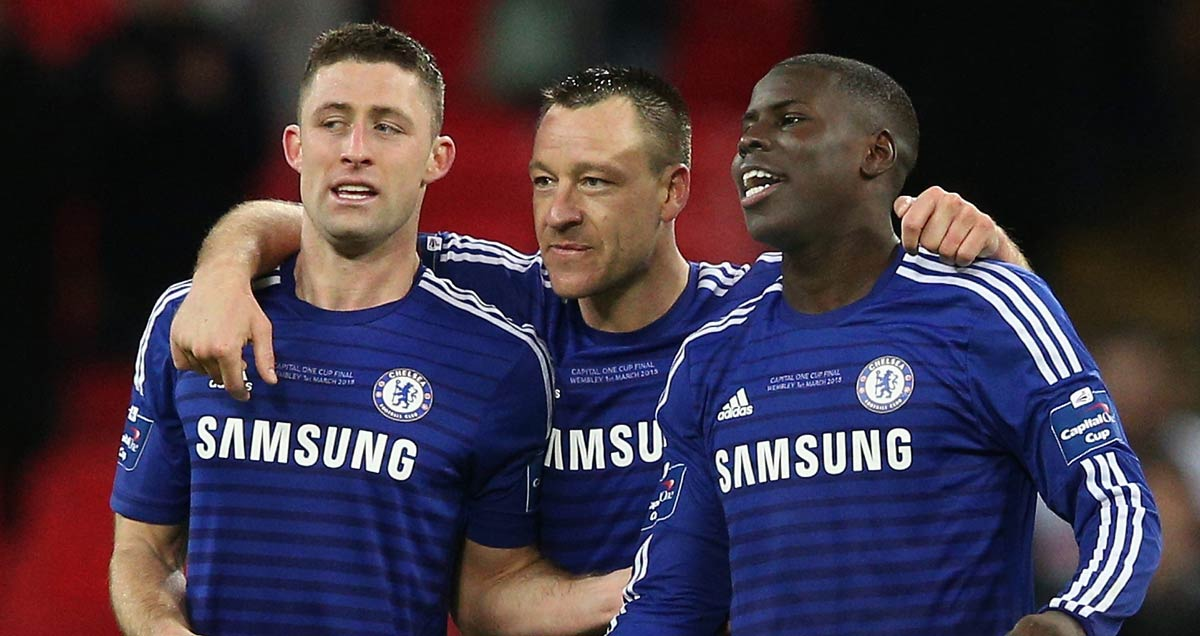 Chelsea defenders Gary Cahill, John Terry and Kurt Zouma