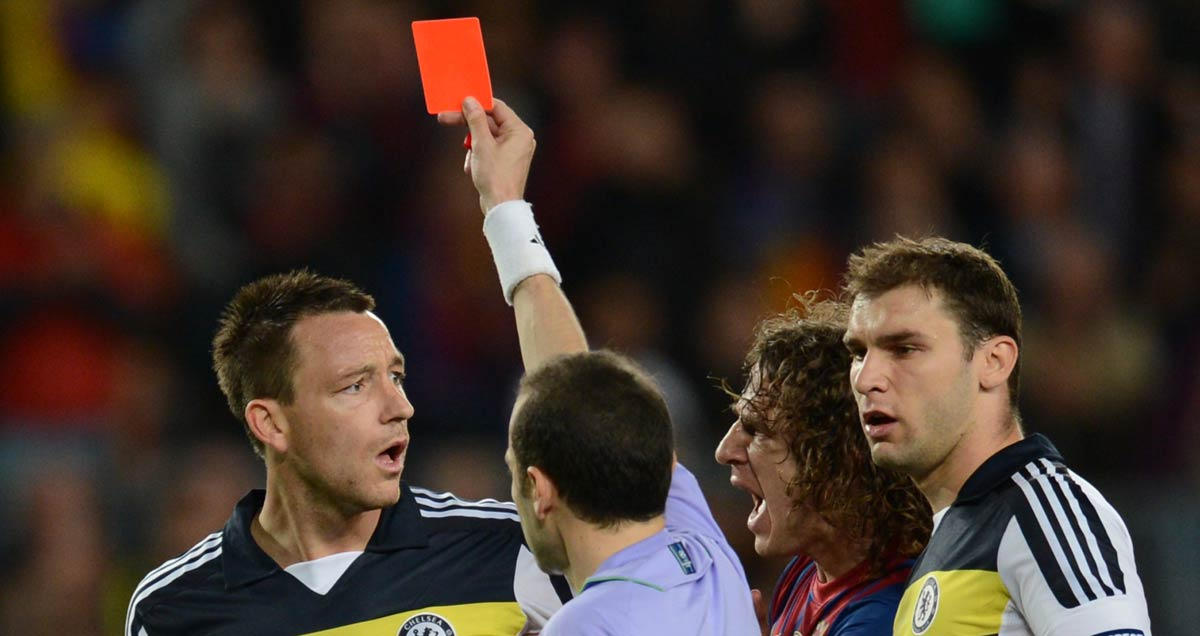 Chelsea's John Terry sees red in the Champions League second leg in Barcelona