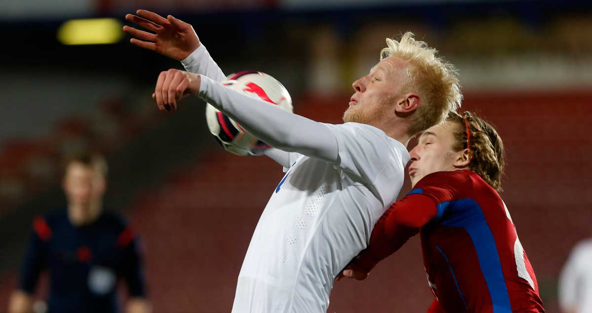 Derby's Will Hughes in action for England Under-21s.