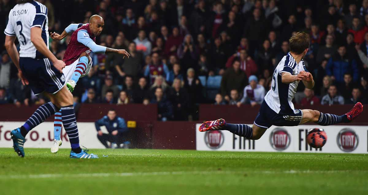 Fabian Delph arrows in a Villa strike against West Brom