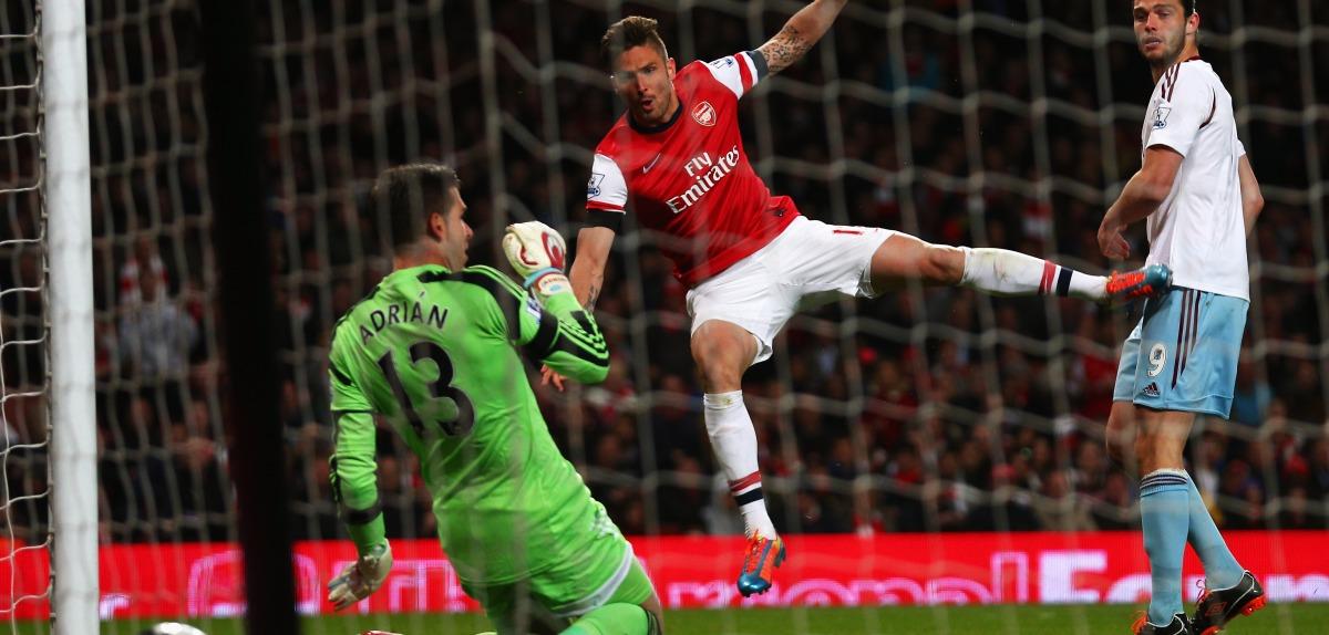 Olivier Giroud finds the net against West Ham