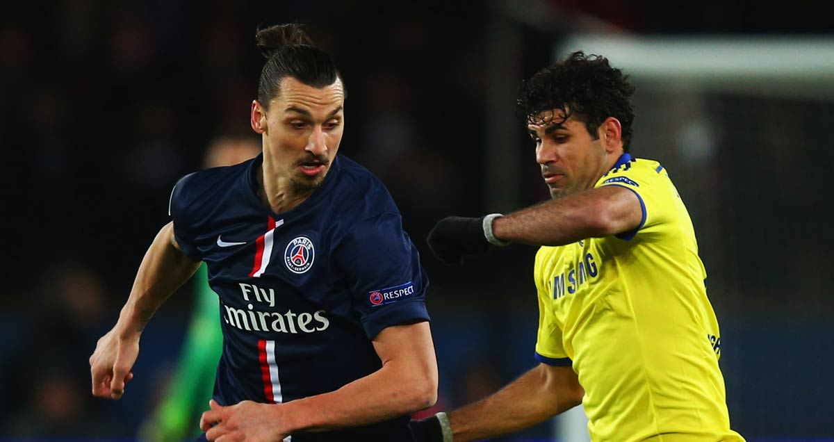 PSG v Chelsea - Zlatan Ibrahimovic and Diego Costa vie for the ball