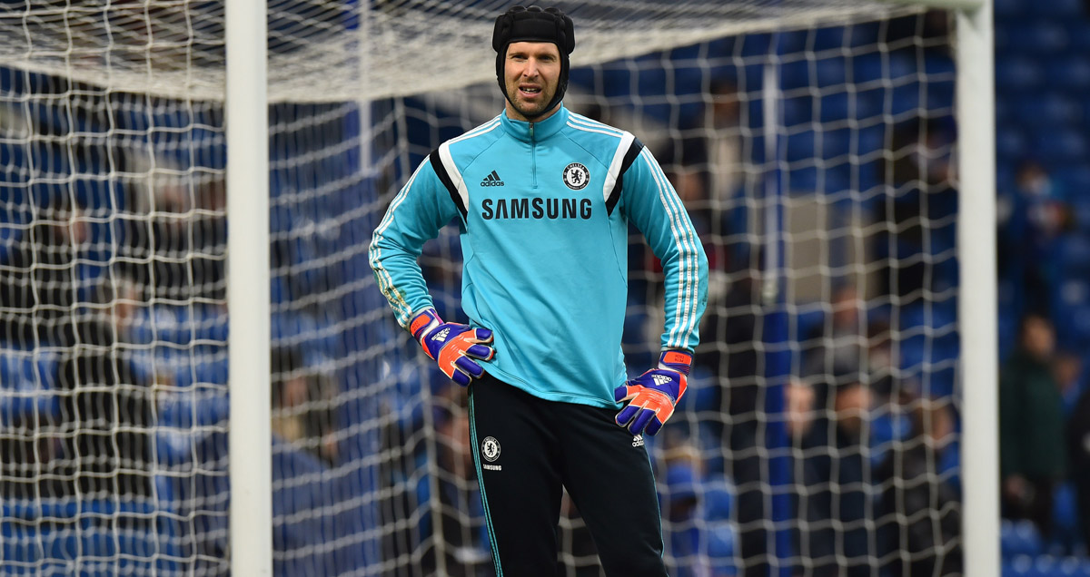 Petr Cech cuts a frustrated figure on the Chelsea bench