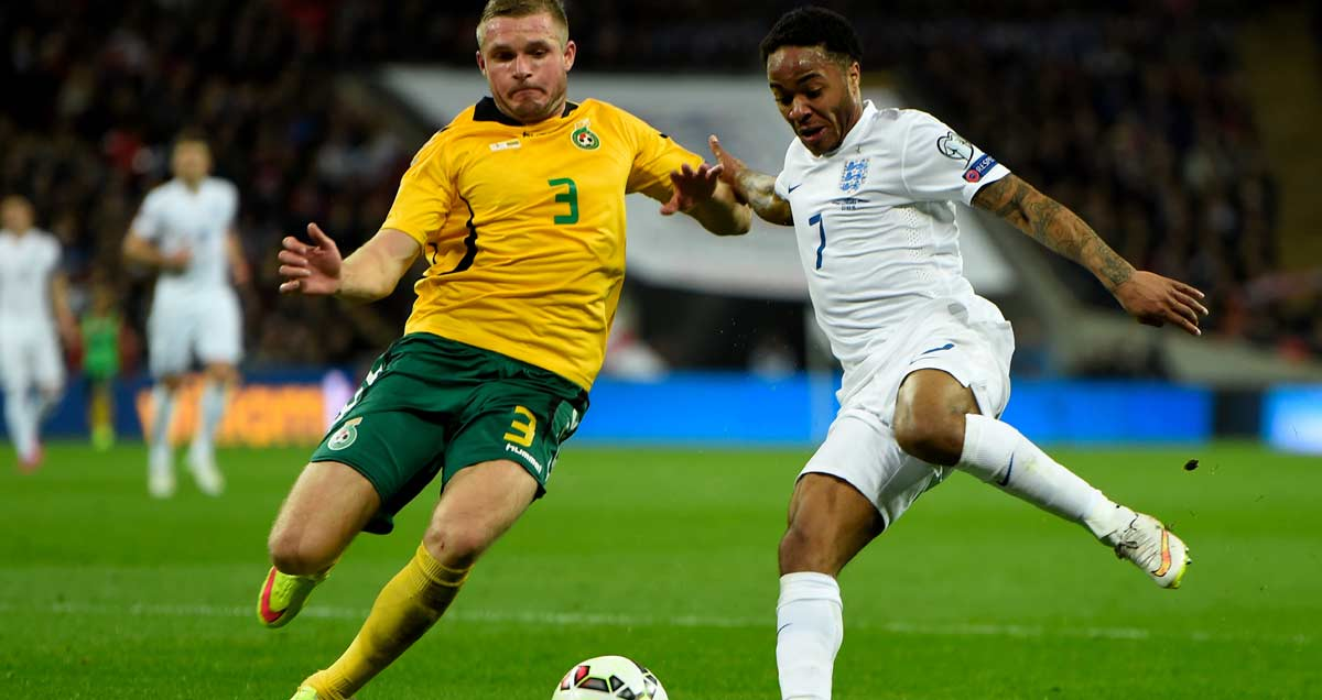Raheem Sterling terrorising the Lithuania defence