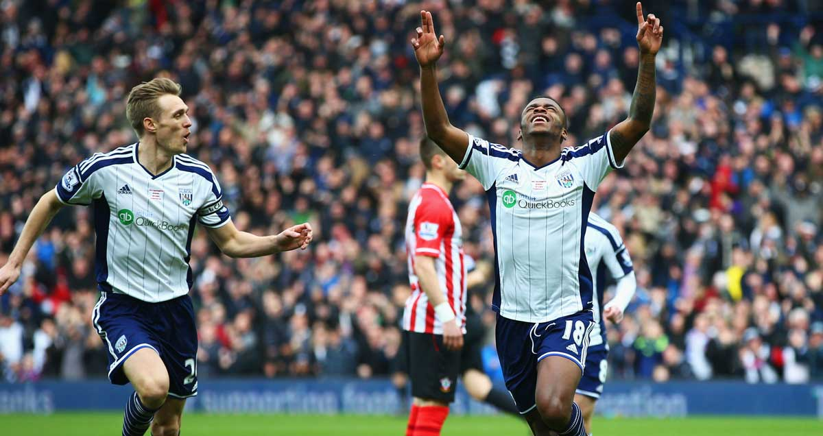 Saido Berahino thanks the heavens for another West Brom goal