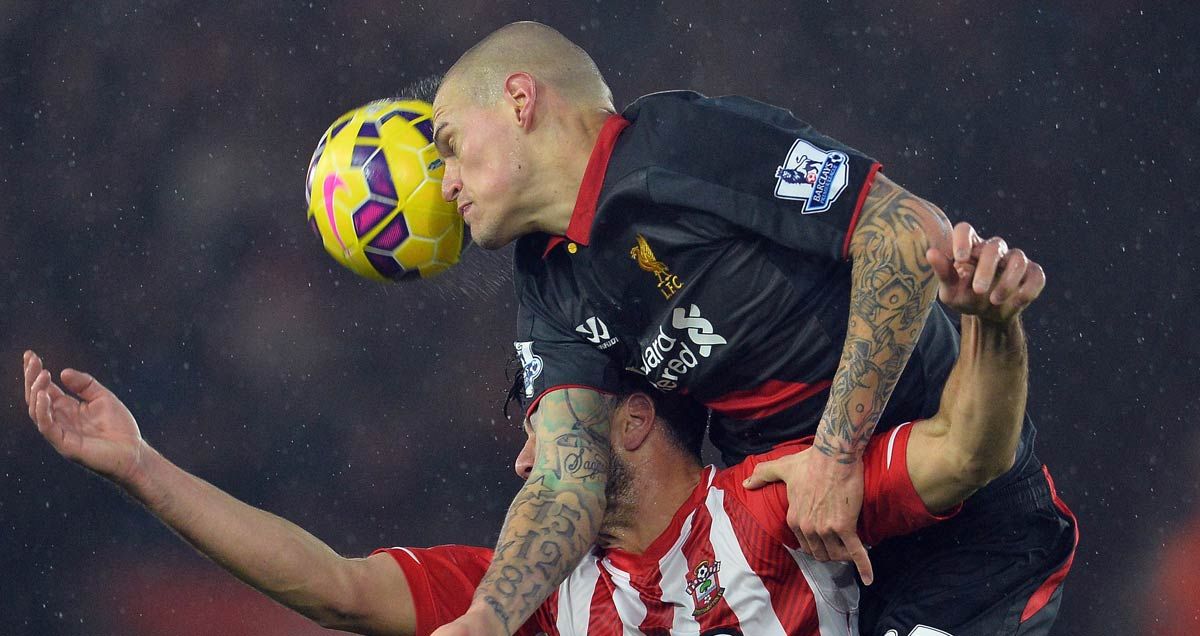 Southampton v Liverpool - Martin Skrtel beats Graziano Pelle to the captaincy in uncompromising fashion