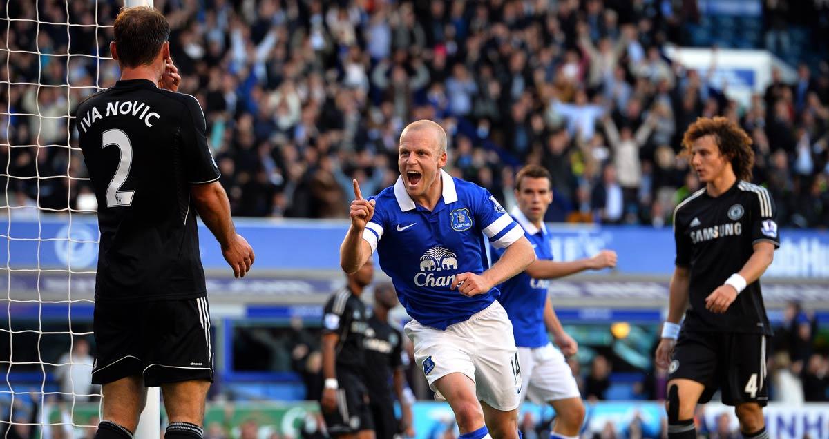 Steven Naismith nets for Everton against Chelsea in 2013