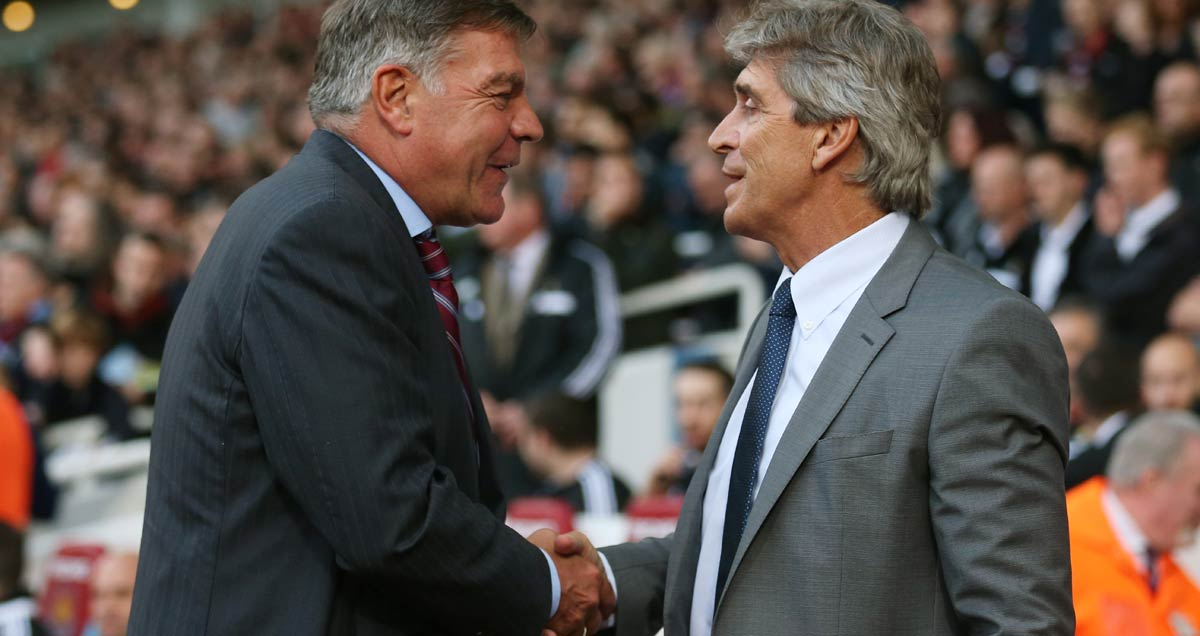 West Ham manager Sam Allardyce and his Man City counterpart Manuel Pellegrini share a warm handshake