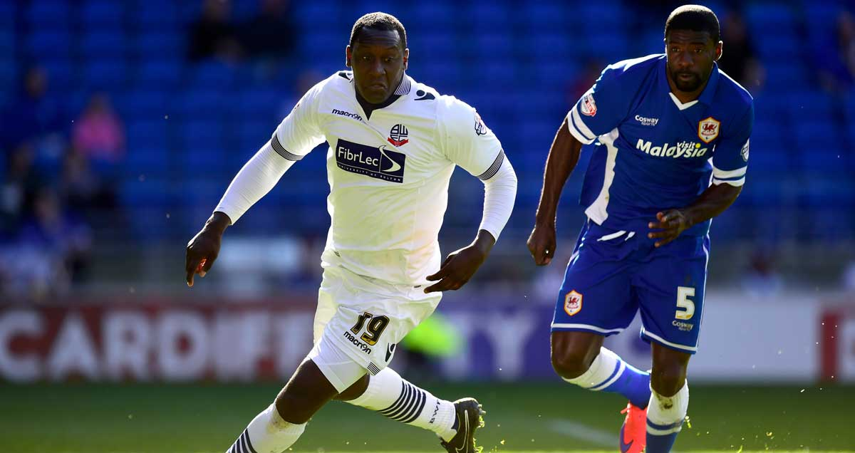 Bolton's Emile Heskey in full flight v Cardiff