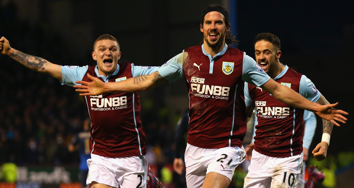 Burnley trio George Boyd, Kieran Trippier and Danny Ings celebrate