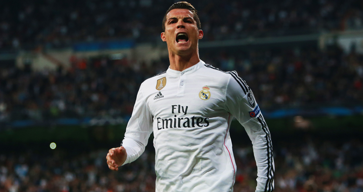 Cristiano Ronaldo celebrates a Champions League goal against Schalke