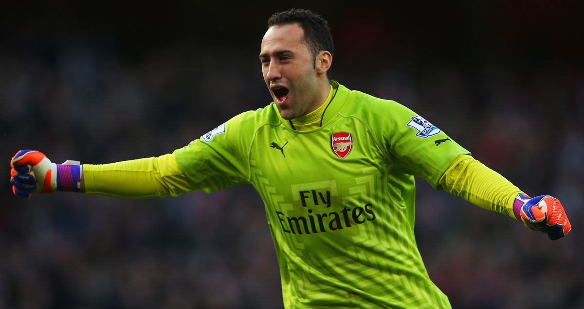 David Ospina elated with an Arsenal goal against Everton