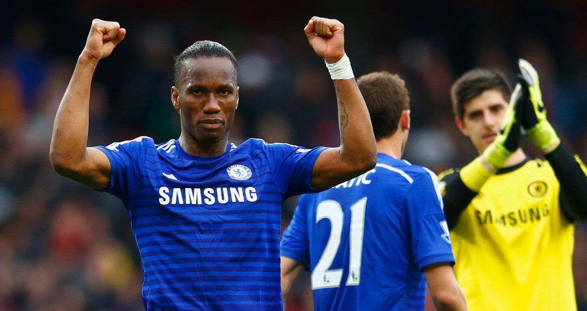 Didier Drogba celebrates a goalless draw like never before
