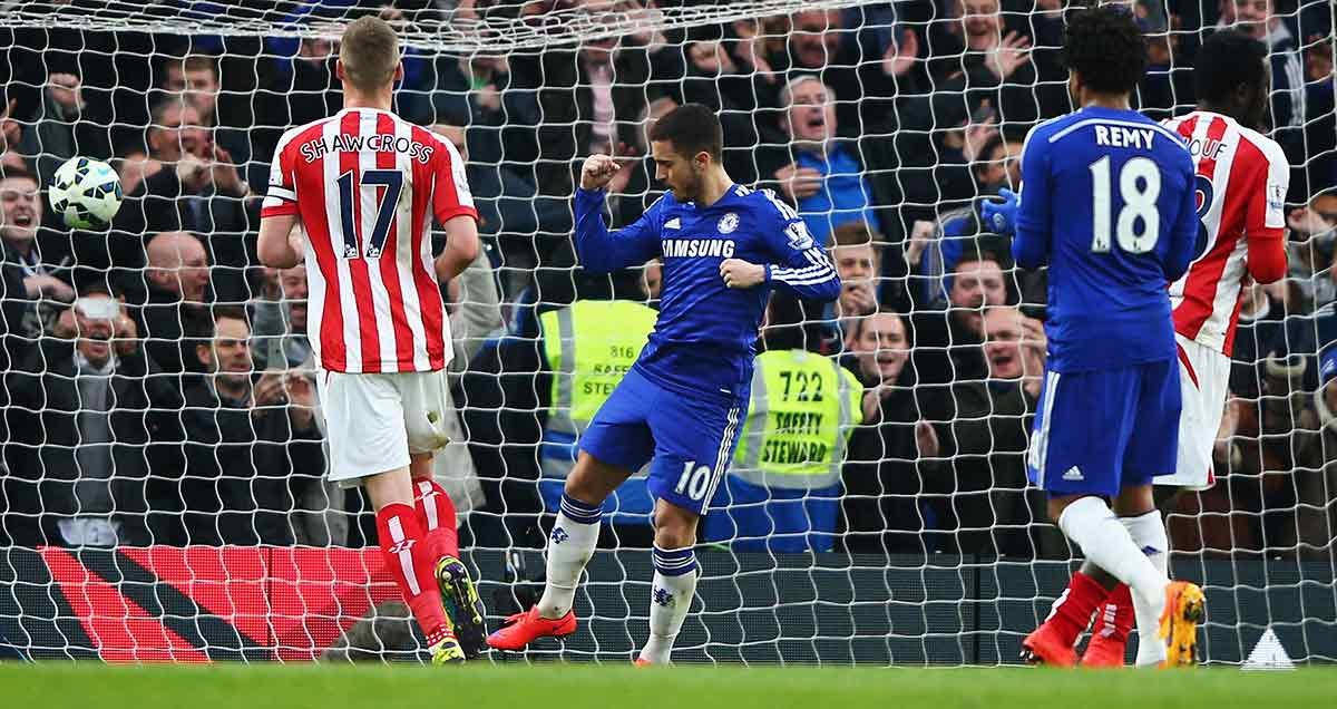 Eden Hazard celebrates a goal against Stoke