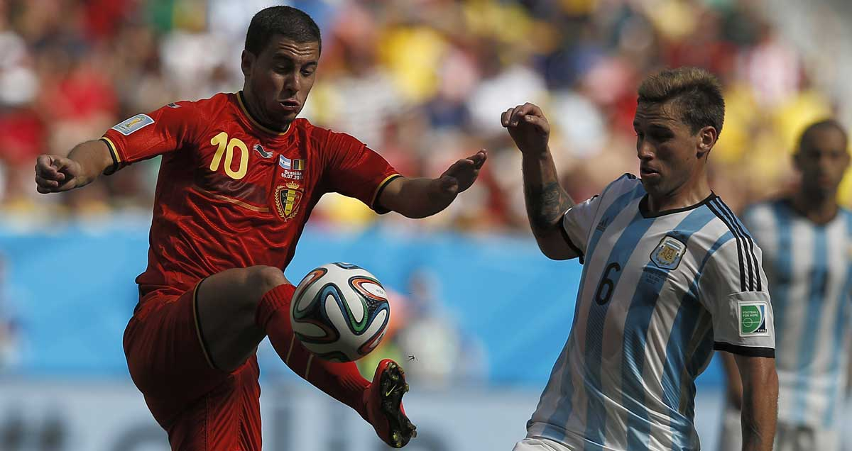 Eden Hazard in action for Belgium at the World Cup 2014