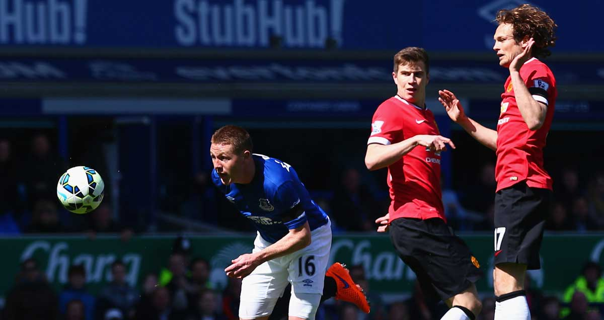 James McCarthy bundles his way through to score for Everton v Man Utd